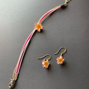 Flower earrings and bracelet